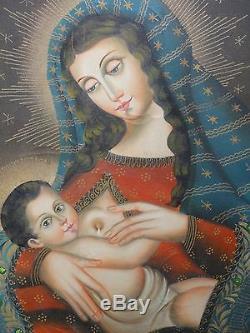 Magnifique huile sur toile ancien tableau école de Cuzco vierge à l'enfant 19ème