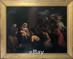 Magnifique tableau ancien religieux XIXe
