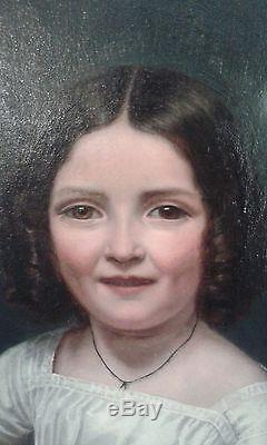 Manifique ancien grand tableau huil sur toile portrait petite fille