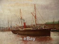 Marine, Avant Port du Havre, Eug JABONEAU 1885. Tableau ancien