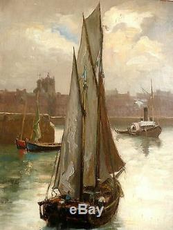 Marine, Retour de la pêche, Frédéric LEON, fin 19ème Tableau ancien