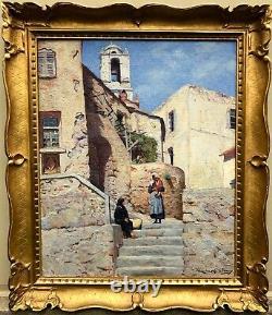 Maurice La Bany-Provence-Village Corse-Tableau ancien-Salon AF de 1937-Corse