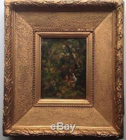 NARCISSE DIAZ DE LA PENA XIXe Femmes dans un bois Tableau ancien Huile sur toile