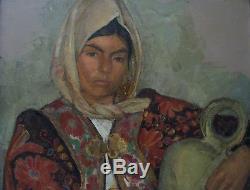 ODETTE PAUVERT (1903-1966) PORTRAIT DE FEMME- RARE & TRèS BEAU TABLEAU ANCIEN