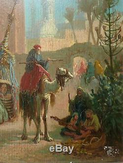 Orientaliste, L'entrée du Caire, signé, 1879. HSP. Tableau ancien