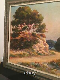PAYSAGE DE PROVENCE TABLEAU ANCIEN DEBUT XXe HUILE CADRE