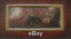 PEINTURE ancienne, tableau, peinture sur marbre, Nativité, Marie, enfant Jésus