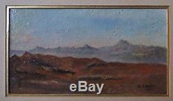 PETIT TABLEAU ANCIEN MINIATURE PEINTURE HUILE paysage orientaliste signé 1912
