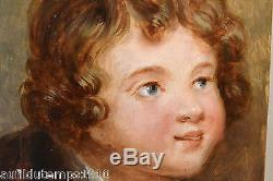 PORTRAIT D'ENFANT XVIIIe HUILE SUR PANNEAU PEINTURE TABLEAU ANCIEN GREUZE