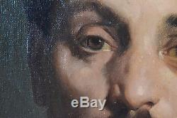 PORTRAIT D'HOMME XIXeme DOUARD 1868 HUILE SUR TOILE TABLEAU ANCIEN