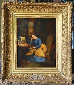 PORTRAIT INTERIEUR XIXe Jules FILLYON (1824-1883) HUILE TABLEAU ANCIEN CADRE