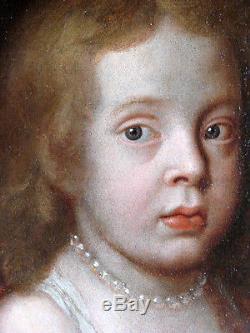 PORTRAIT JEUNE INFANTE AU CHIEN 17ème, Tableau ancien HUILE 1645, HST XVIIEME
