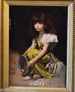 PORTRAIT ORIENTALISTE XIXe XXe PETITE FILLE TAMBOURIN PEINTURE TABLEAU ANCIEN