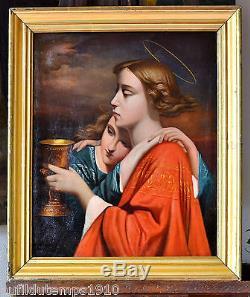 PORTRAIT XIXeme SCENE ANGES PEINTURE TABLEAU ANCIEN Charles LANDELLE (1821-1908)