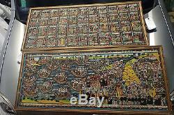 Paire de tableaux anciens judaisme exode nativité rite huile sur toile rare