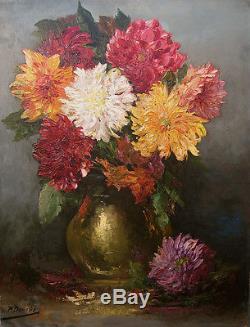 Paul DENARIE 1859-1942 Nature morte aux fleurs Tableau ancien Grand format Coté