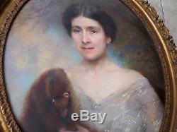 Paul Leroy-1860-1942Tableau ancien/Huile/toile ovale-Portrait FEMME-hermine-oil