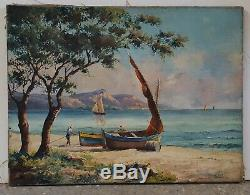 Paysage Marin Provence Antibes Cote Azur Mer Mediterranee Tableau Ancien