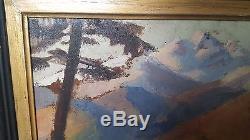 Paysage de Montagne Tableau ancien, huile sur panneau, art moderne