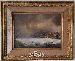Paysage, huile sur bois, signé Seickett, XIXe, école hollandaise, tableau ancien