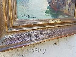 Paysage marin. Ancien tableau peinture huile sur toile. Marie Lefevre (1840-)