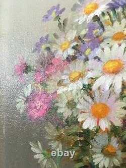 Peinture Ancienne Signée ANDROBERT XXe Tableau HST Fleurs Vintage Oil On Canvas