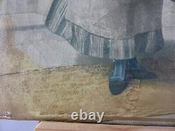 Peinture Ancienne Tableau Hst De Auguste Serrure 19eme Siecle A Restaurer Femme