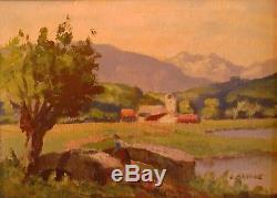 Peinture Pyrenees Comminges Signe Ancien Montagne Mountain Tableau Art Luchon