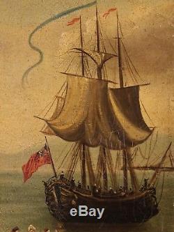 Peinture ancienne tableau marine français paysage huile sur toile cadre 800 XIX