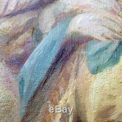 Peinture grand tableau ancien fin XIXème scène mythologique