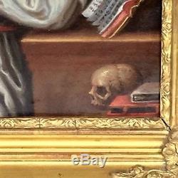 Peinture sur cuivre XVIIIème, religieuse en prière / tableau ancien
