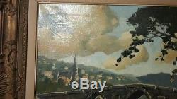 Peinture tableau huile sur toile ancien rostand