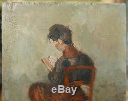 Petit Tableau Ancien Huile Femme Chaise Lecture 1911 Monogramme Emile Bernard