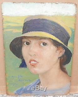 Petit Tableau Ancien Huile GUSTAVE POETZSCH Portrait Marie-Thérèse Fille 1917