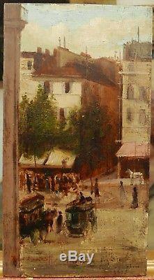 Petit Tableau Ancien Huile PARIS Place Pigalle Charette RENÉ VAUQUELIN XIXe 1875