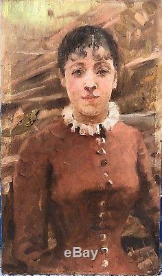 Petit Tableau Ancien Huile Portrait Femme Ombrelle ARTHUR HACKER (1858-1919)