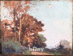 Petit Tableau Ancien Jean-Constant PAPE (1865-1920) Meudon Ecole Barbizon #3