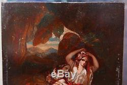 Petit Tableau Ancien Orientaliste Portrait Femmes XIXe 1860 à identifier DIAZ