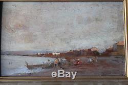 Petit tableau ancien HSP Scène de plage Anonyme