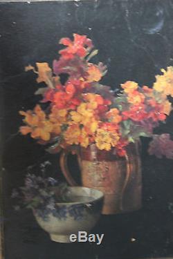 Petit tableau ancien Pots de fleurs Anonyme Superbe