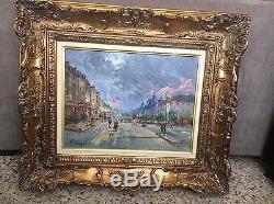 Pierre Mougins ancien grand tableau peinture paysage Paris huile HSP