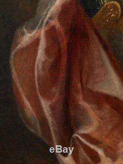 Portrait Femme Actrice Théatre 17ème Tableau Ancien HST XVIIEME François De Troy