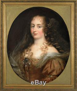Portrait Femme Aux Perles 19ème Tableau ancien HST XIXEME Justus Van Egmont