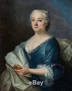 Portrait Femme tabatière 18ème Tableau Ancien HST XVIIIEME Jean-François Delyen
