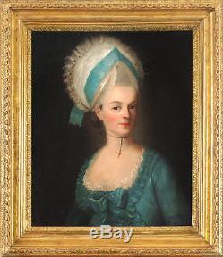Portrait Fille Du Ministre De Louis XVI 18ème Tableau ancien HST XVIIIEME