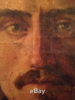 Portrait Homme Notable Tableau ancien 19eme Peinture Huile sur Toile à restaurer