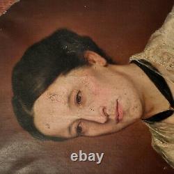 Portrait Huile Tableau Ancien