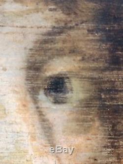 Portrait XVII Eme- Huile Sur Panneau Tableau Ancien- Peinture