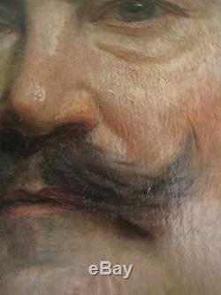 Portrait ancien huile toile Homme Tableau Peinture XIX Edouard CABANE Signé Daté