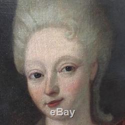 Portrait ancien vers 1700 femme de qualité, tableau ancien
